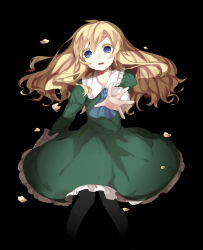 1girl arin_(fanfan013) black_background blonde_hair blue_eyes dress green_dress highres ib long_hair mary_(ib) outstretched_arm outstretched_hand solo