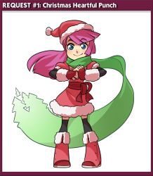 1girl blue_eyes boots clenched_hand fingerless_gloves full_body gloves green_scarf hat kneehighs mary_cagle original pink_hair red_boots santa_hat scarf solo thighhighs zettai_ryouiki