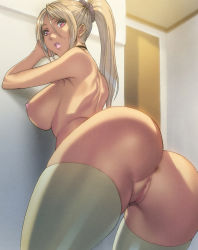 1girl anus arched_back areolae ass bent_over breasts censored highres hips homare_(fool's_art) huge_ass large_breasts lips lipstick looking_at_viewer looking_back makeup nipples no_panties pink_lips pink_lipstick pussy red_eyes sideboob skindentation thick thick_lips thick_thighs thighhighs thighs white_legwear