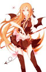 1girl asuna_(sao) bat_wings brown_eyes brown_hair demon_tail demon_wings fang highres koe_(aydllie) long_hair sword_art_online tail thighhighs wings