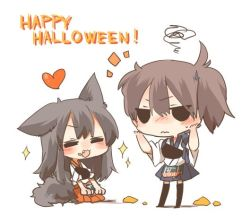 2girls akagi_(kantai_collection) animal_ears black_eyes black_hair blush brown_hair chibi english eyes_closed fang food food_on_face halloween hands_on_own_face heart kaga_(kantai_collection) kantai_collection long_hair multiple_girls open_mouth pumpkin rebecca_(keinelove) short_hair side_ponytail sitting smile sparkle tail wolf_ears wolf_tail