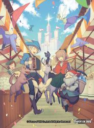 2boys 3girls beard bird book boots bow brown_hair castle cat chicken copyright_name crystal day dog donkey eyes_closed facial_hair fairy fairy_wings feathers flag flower force_of_will full_body green_eyes green_hair grey_hair hat mie_nabe multiple_boys multiple_girls official_art open_mouth petals pointy_ears sky teeth tongue tongue_out wings