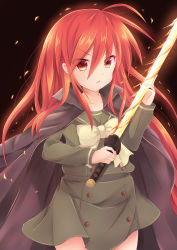1girl coat coffeedog fire long_hair red_eyes red_hair school_uniform serafuku shakugan_no_shana shana sword thighhighs weapon