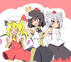 3girls ascot black_hair blonde_hair blush detached_sleeves eyes_closed female flandre_scarlet grey_hair hair_ribbon hat inubashiri_momiji multiple_girls open_mouth red_eyes ribbon senba_chidori shameimaru_aya side_ponytail skirt tokin_hat touhou wings