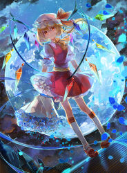 1girl blonde_hair blue_rose dutch_angle flandre_scarlet flower full_body full_moon hat highres moon petals red_eyes rose short_hair side_ponytail solo touhou vima wings