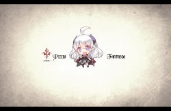 1girl blush border chibi commentary_request copyright_name gradient_background highres letterboxed long_hair open_mouth original pixiv_fantasia pixiv_fantasia_fallen_kings purple_eyes saru solo