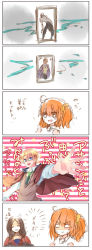 ahoge berserker_(fate/prototype_fragments) blonde_hair breasts brown_hair comic eyes_closed fate/grand_order fate/prototype fate/prototype:_fragments_of_blue_and_silver fate_(series) fujimaru_ritsuka_(female) glasses hair_ornament long_hair necktie open_mouth orange_hair short_hair side_ponytail star
