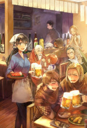 "3girls 6+boys alcohol apron arm_around_shoulder armor bald bar beard beer beer_mug black_hair blonde_hair bottle bowl brown_hair chair child chopsticks drunk eyes_closed facial_hair fantasy food glasses hair_slicked_back hand_on_another's_head hand_up happy indoors japanese_clothes laughing long_hair looking_at_viewer looking_back low-tied_long_hair meat mocco monocle multiple_boys multiple_girls old_man open_mouth original ponytail sake sake_bottle scale_armor sekai_izakaya_""nobu"" ship_in_a_bottle short_hair sitting smile soy_sauce table tavern tokkuri tray waist_apron waitress"