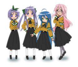 4girls alternate_costume hiiragi_kagami hiiragi_tsukasa izumi_konata lucky_star multiple_girls ns2d takara_miyuki