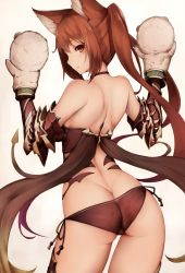 1girl animal_ears armor ass back bare_shoulders bikini_armor butt_crack cerberus_(shingeki_no_bahamut) contrapposto dog_ears from_behind hand_puppet inaba_sunimi long_hair looking_back puppet red_eyes red_hair shingeki_no_bahamut simple_background solo tattoo twintails