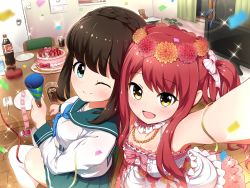 2girls :d ;) asahina_kokomi battle_girl_high_school black_hair cake coca-cola flower food hair_flower hair_ornament hasumi_urara highres looking_at_viewer multiple_girls one_eye_closed open_mouth party_popper red_eyes school_uniform smile tamanegi_(12030028) yellow_eyes