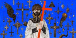 1boy 666 apple bangs black_eyes black_hair black_wings celtic_cross chazy cross cross_necklace crucifixion eye_of_providence eyeball fate_(series) food fruit gas_mask habit hands highres holding horn infinity inverted_cross iron_cross jesus jewelry kotomine_kirei latin_cross long_sleeves male_focus necklace one_eye_covered peace_symbol pentagram pitchfork rosary solo star wings