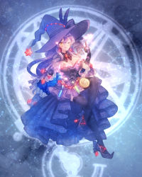 1girl ;) black_legwear bow breasts constellation dress full_body gloves hat hat_bow hat_flowers hat_ornament highres invisible_chair large_breasts legs_crossed licking_lips long_hair medallion mismagius moe_(hamhamham) one_eye_closed personification pokemon purple_bow purple_dress purple_gloves purple_hair purple_hat sitting smile solo thighhighs tongue tongue_out vial witch_hat