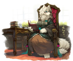 1girl animal_ears book breasts furry kishibe long_hair original pixiv_fantasia pixiv_fantasia_new_world sitting smile solo tail