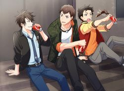 3boys akuno_hideo bandaid bandaid_on_face black_hair blue_eyes brown_hair casual denim dog_tags frame_(idolmaster) grey_hair idolmaster idolmaster_side-m jacket jeans kimura_ryuu letterman_jacket looking_at_another male_focus multiple_boys necktie open_clothes open_jacket open_mouth pants sharp_teeth shingen_seiji sitting soda_can spiked_hair stairs sweatdrop teeth wristband