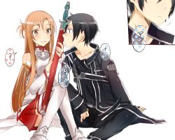 1boy 1girl asuna_(sao) black_eyes black_hair breastplate brown_eyes brown_hair getsuyoubi kirito long_hair short_hair sitting sword sword_art_online thighhighs weapon