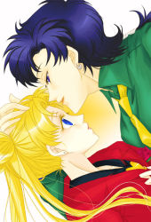 2girls bishoujo_senshi_sailor_moon blazer blazer_removed blonde_hair blue_eyes blue_hair colored_eyelashes double_bun earrings facial_mark forehead_mark formal green_shirt hand_on_another's_head incipient_kiss jacket jewelry long_hair multiple_girls necktie profile reverse_trap seiya_kou shirt stud_earrings suit tachibana_rei_(ginsuna) tsukino_usagi twintails yellow_necktie yuri