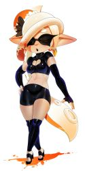 1girl breasts cleavage cleavage_cutout earrings eyes_closed gloves heart_cutout inkling latex pointy_ears shorts splatoon the_boogie wide_hips