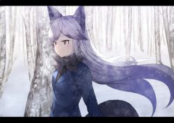 1girl :o animal_ears arms_at_sides bare_tree black_bow black_bowtie black_necktie blazer blue_jacket bow bowtie breath brown_eyes buttons commentary eyebrows eyebrows_visible_through_hair eyelashes floating_hair fox_ears fox_tail from_side grey_hair jacket kemono_friends koruse letterboxed long_hair long_sleeves looking_away multicolored_hair necktie open_mouth outdoors sanpaku scenery silver_fox_(kemono_friends) snow snowing solo tail tree tsurime two-tone_hair upper_body very_long_hair wind