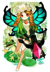 1girl blonde_hair bow_(weapon) braid butterfly_wings crossbow cyenmi3 fairy flower frog hair_flower hair_ornament ingway_(odin_sphere) long_hair mercedes odin_sphere pointy_ears puffy_sleeves red_eyes twin_braids weapon wings