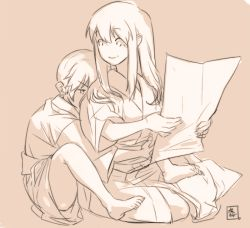akagi_(kantai_collection) hug hug_from_behind kaga_(kantai_collection) kantai_collection long_hair monochrome multiple_girls tora_jun