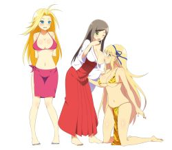 3girls barefoot bikini blonde_hair blue_eyes blue_nails blush breast_sucking breasts brown_hair feet green_eyes josui_(senran_kagura) katsuragi_(senran_kagura) kneeling large_breasts multiple_girls nail_polish pink_bikini red_nails sarong senran_kagura senran_kagura_(series) senran_kagura_new_wave tiger_print toenail_polish traditional_clothes wink yoshimitsu_(senran_kagura) yuri
