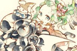 372 :< blue_eyes bunny chibi crayon_(medium) final_fantasy final_fantasy_vi green_hair hair_ribbon hat magitek_armor mysidian_rabbit open_mouth ponytail red_eyes ribbon tina_branford traditional_media witch_hat