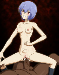 1boy 1girl ayanami_rei black_legwear blue_hair blush breasts censored circle_anco clenched_hand clenched_teeth cowgirl_position cum cum_in_pussy dark_skinned_male drooling girl_on_top interracial kneehighs large_penis leg_grab mosaic_censoring navel nipples nude penis pointless_censoring pussy red_eyes saliva sex short_hair skindentation solo_focus spread_legs stomach_bulge straddling testicles thighs vaginal veiny_penis