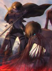 2boys angry blood blue_eyes brown_eyes cable clenched_teeth dual_wielding eren_yeager jacket lena_rena levi_(shingeki_no_kyojin) male_focus military military_uniform multiple_boys shingeki_no_kyojin shirtless sunset teeth thigh_strap three-dimensional_maneuver_gear tonfa twitter_username uniform weapon wire