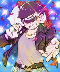 1boy beckoning belt black_hair blue_background bouquet denim flower gold_chain jacket jeans leather_jacket looking_at_viewer male_focus matsuno_karamatsu mouth_hold open_clothes open_jacket osomatsu-kun osomatsu-san pants petals rose smile solo sparkle st05254