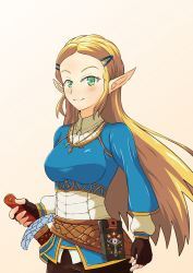 1girl black_gloves blonde_hair fingerless_gloves gloves green_eyes hair_ornament hairclip jewelry long_hair necklace pointy_ears princess_zelda sheath sheathed smile solo the_legend_of_zelda the_legend_of_zelda:_breath_of_the_wild upper_body yuukilin