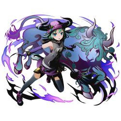 1girl aqua_hair black_legwear black_sweater blue_eyes divine_gate elbow_gloves full_body gloves hat horns kami_juusha kikyou_(kami_juusha) looking_at_viewer official_art open_mouth purple_gloves purple_hat purple_skirt shadow short_hair skirt solo sweater tail thighhighs transparent_background ucmm zettai_ryouiki