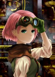 1girl adjusting_goggles breasts closed_mouth from_side gloves goggles goggles_on_head green_eyes green_gloves keane912 koutetsujou_no_kabaneri light_frown looking_at_viewer looking_to_the_side pink_hair shade short_hair sleeves_past_elbows solo steampunk train upper_body yukina_(kabaneri)