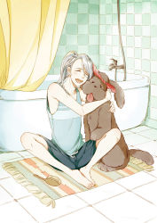 1boy ^_^ bathroom bathtub dog eyes_closed hair_brush hug makkachin male_focus mamemomota open_mouth ponytail rug shorts shower_curtain silver_hair sitting smile tank_top teenage tongue tongue_out viktor_nikiforov younger yuri!!!_on_ice