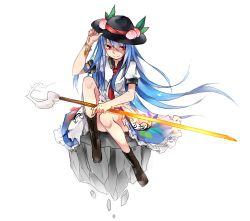 1girl blue_hair boots bracelet cross-laced_footwear food fruit hat highres hinanawi_tenshi jewelry long_hair long_legs peach puffy_short_sleeves puffy_sleeves red_eyes renkarua short_sleeves simple_background sitting smile solo sword_of_hisou touhou very_long_hair