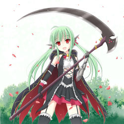 1girl battle_girl_high_school cape empty_eyes green_hair long_hair looking_at_viewer red_eyes sadokurone sadone scythe solo thighhighs twintails weapon