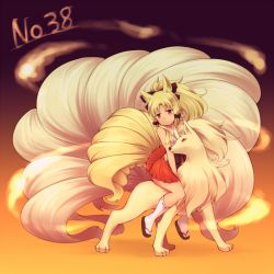 1girl blonde_hair japanese_clothes kuromiya long_hair miko multiple_tails ninetales personification pokemon red_eyes tail