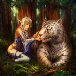 1girl blue_eyes bunny_shake elf forest grass green_eyes lineage lineage_2 long_hair nature original pointy_ears thighhighs tiger tree white_hair white_tiger