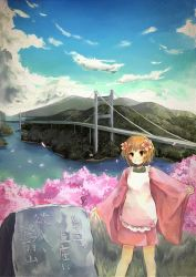1girl apron blue_sky bridge cherry_blossoms cloud flower grass grin hair_flower hair_ornament japanese_clothes kimono monument mountain orange_eyes orange_hair original shimada_sara shoreline short_hair short_kimono sky sleeves_past_wrists smile solo wide_sleeves