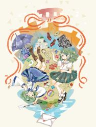 2girls alternate_costume ball detached_sleeves dual_persona envelope frog frog_hair_ornament gohei green_eyes green_hair hair_ornament kochiya_sanae long_hair multiple_girls one_eye_closed onigiri_(ginseitou) open_mouth pinwheel school_uniform simple_background skirt smile snake snake_hair_ornament touhou umbrella upside-down
