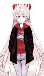1girl alternate_costume bow contemporary cowboy_shot denim fujiwara_no_mokou hair_bow hair_ribbon hands_in_pockets highres hood hoodie jacket jeans long_hair looking_at_viewer pants red_eyes ribbon silver_hair six_(fnrptal1010) solo touhou very_long_hair white_background