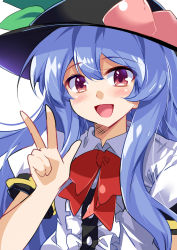 1girl :d blush bow bowtie collared_shirt commentary date_pun e.o. food food_on_head fruit fruit_on_head happy hat highres hinanawi_tenshi long_hair looking_at_viewer number_pun object_on_head open_mouth peach red_eyes shirt smile solo touhou upper_body very_long_hair w