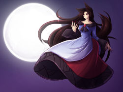 1girl animal_ears brown_hair dress full_moon imaizumi_kagerou long_hair mazume moon red_eyes smile tail touhou very_long_hair wide_sleeves wolf_ears wolf_tail