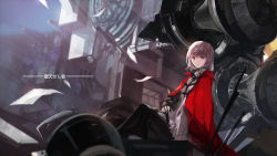 1girl blurry depth_of_field highres looking_at_viewer original short_hair silver_eyes silver_hair sitting smile solo swd3e2 translation_request