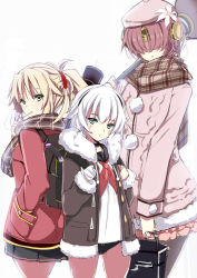 3girls alternate_costume aran_sweater assassin_of_black backpack bag bangs berserker_of_black black_panties black_skirt blonde_hair brown_jacket brown_skirt covered_eyes cowboy_shot dress fate/apocrypha fate_(series) flower fur_collar fur_trim green_eyes hair_flower hair_ornament hand_in_pocket handbag hat headgear jacket long_sleeves looking_at_viewer miniskirt multiple_girls mutou_kurihito neckerchief open_clothes open_jacket over_shoulder panties plaid plaid_scarf ponytail purple_hair red_jacket saber_of_red sailor_dress scarf skirt sweater underwear weapon weapon_over_shoulder