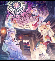 5girls apron ascot bat_wings blonde_hair blue_dress blue_eyes blue_hair braid crescent dress eyes_closed fang flandre_scarlet fruit_punch hat hat_ribbon hong_meiling izayoi_sakuya library looking_at_viewer maid maid_headdress midriff mob_cap multiple_girls navel open_mouth patchouli_knowledge puffy_short_sleeves puffy_sleeves purple_dress purple_eyes purple_hair red_eyes red_hair remilia_scarlet ribbon sash shirt short_sleeves side_ponytail silver_hair skirt smile star touhou twin_braids waist_apron white_dress wings