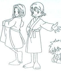 1boy 2girls barefoot bathrobe digimon digimon_adventure lineart long_hair multiple_girls official_art short_hair tachikawa_mimi takenouchi_sora yagami_taichi