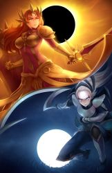2girls armor brown_eyes brown_hair diana_(league_of_legends) eclipse grey_skin holding_weapon kerasu league_of_legends leona_(league_of_legends) long_hair moon multiple_girls shield silver_eyes sword water weapon white_background white_hair