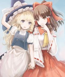 2girls amripo apron ascot blonde_hair blue_eyes bow braid brown_eyes brown_hair detached_sleeves eye_contact hair_bow hair_tubes hakurei_reimu hand_holding hat japanese_clothes kirisame_marisa looking_at_another maid miko multiple_girls puffy_short_sleeves puffy_sleeves red_skirt ribbon-trimmed_sleeves ribbon_trim short_sleeves skirt skirt_set touhou waist_apron wide_sleeves witch_hat yuri