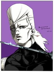 1boy 2016 artist_name character_name collarbone earrings eyepatch french hatching_(texture) highres jean_pierre_polnareff jewelry jojo_no_kimyou_na_bouken male_focus monochrome portrait purple_background rapier scar scar_across_eye solo spot_color sword weapon white_border zazamiso